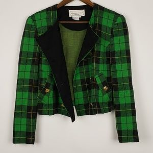 Adrienne Vittadini Green Plaid Blazer Size 8